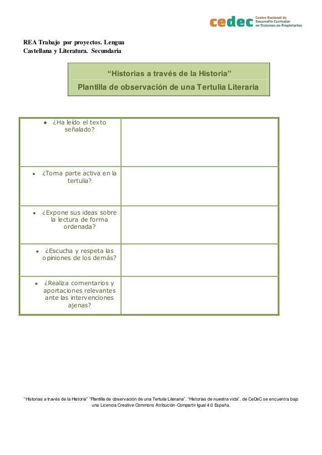 """REA Trabajo por proyectos. Lengua Castellana y Literatura. Secundaria """"Historias a través de la Historia"""" """"Plantilla de ob..."""