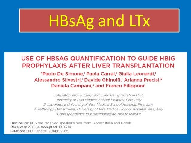 Quantification of serum HBsAg