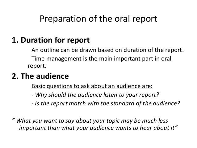 Meaning of oral report