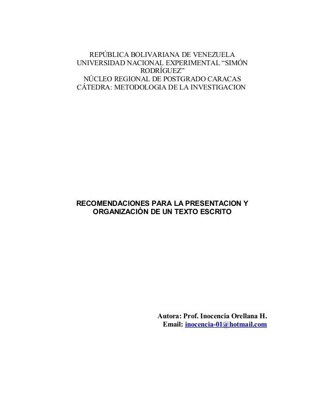 """REPÚBLICA BOLIVARIANA DE VENEZUELAUNIVERSIDAD NACIONAL EXPERIMENTAL """"SIMÓNRODRÍGUEZ""""NÚCLEO REGIONAL DE POSTGRADO CARACASCÁ..."""