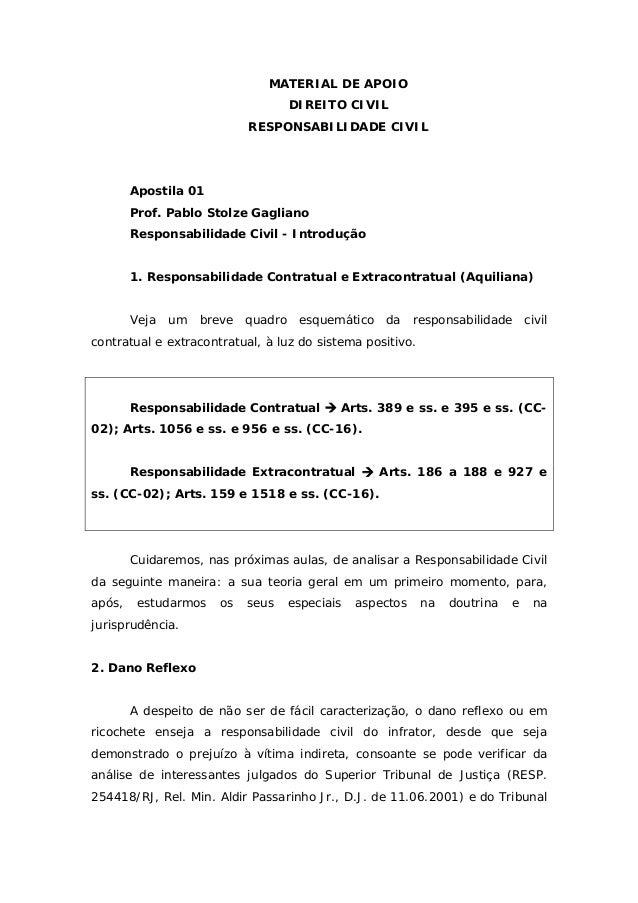 MATERIAL DE APOIO DIREITO CIVIL RESPONSABILIDADE CIVIL Apostila 01 Prof. Pablo Stolze Gagliano Responsabilidade Civil - In...