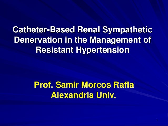 Catheter-Based Renal SympatheticDenervation in the Management ofResistant HypertensionProf. Samir Morcos RaflaAlexandria U...