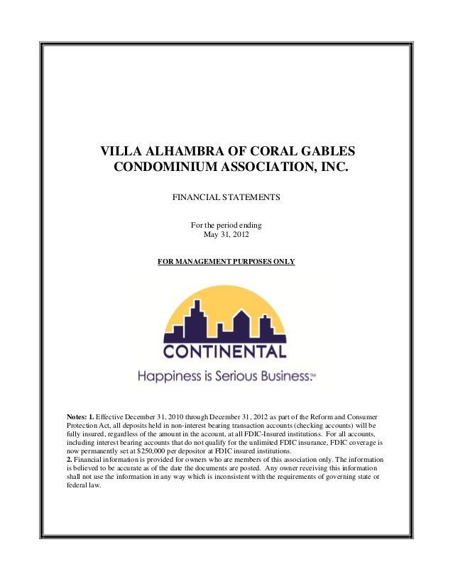 VILLA ALHAMBRA OF CORAL GABLES             CONDOMINIUM ASSOCIATION, INC.                                   FINANCIAL STATE...