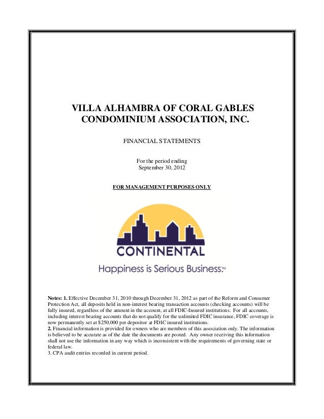 VILLA ALHAMBRA OF CORAL GABLES             CONDOMINIUM ASSOCIATION, INC.                                   FINANCIAL STATE...