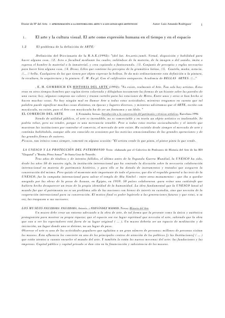 Dosier de Hª del Arte.   I APROXIMACIÓN A LA HISTORIA DEL ARTE Y A LOS LENGUAJES ARTÍSTICOS            Autor: Luis Amando ...