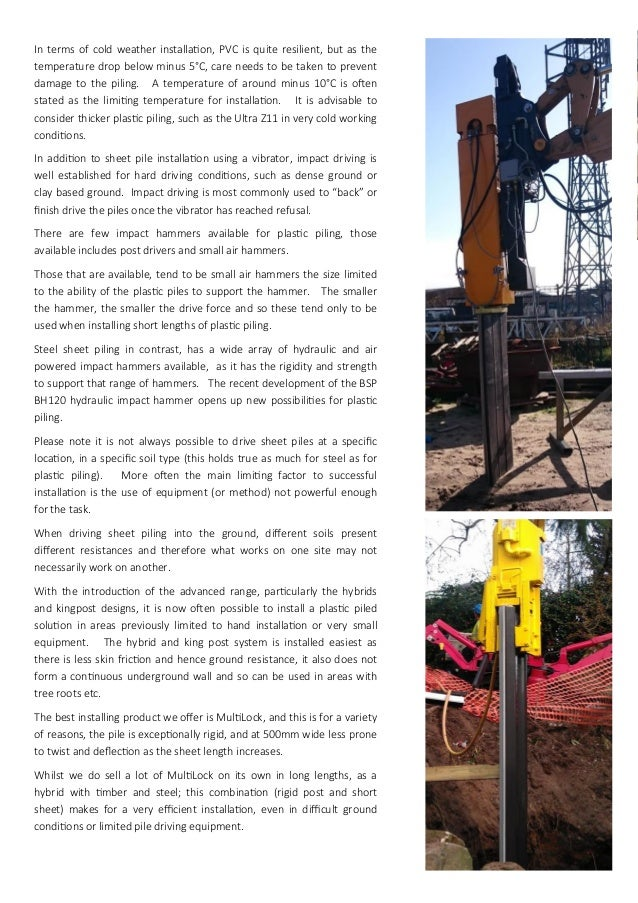 THE Plastic Piling Company Range of Plastic Sheet Piling and