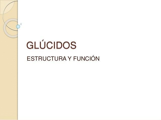 GLÚCIDOS ESTRUCTURA Y FUNCIÓN