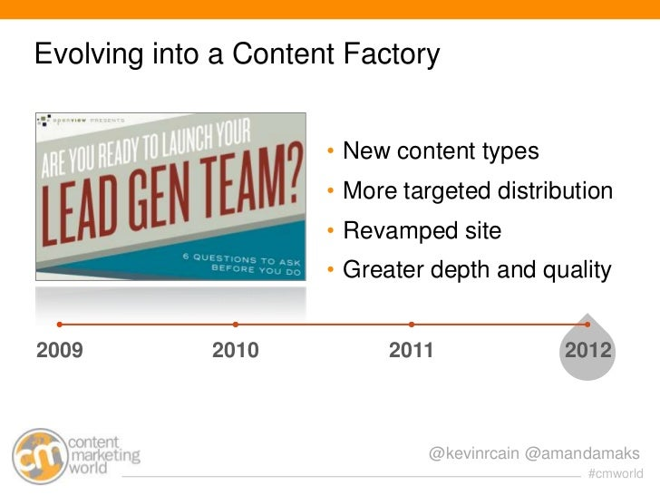 Evolving into a Content Factory                      • New content types                      • More targeted distribution...
