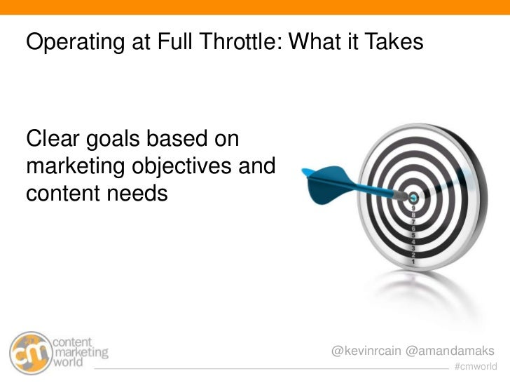 Operating at Full Throttle: What it TakesClear goals based onmarketing objectives andcontent needs                        ...