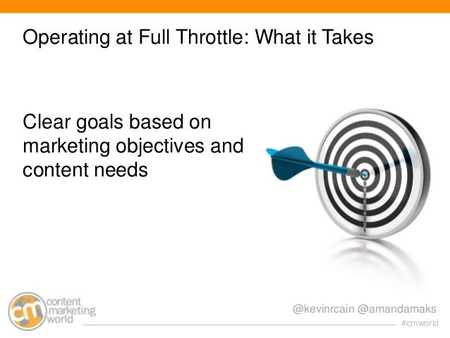 Operating at Full Throttle: What it Takes  Clear goals based on marketing objectives and content needs  @kevinrcain @amand...