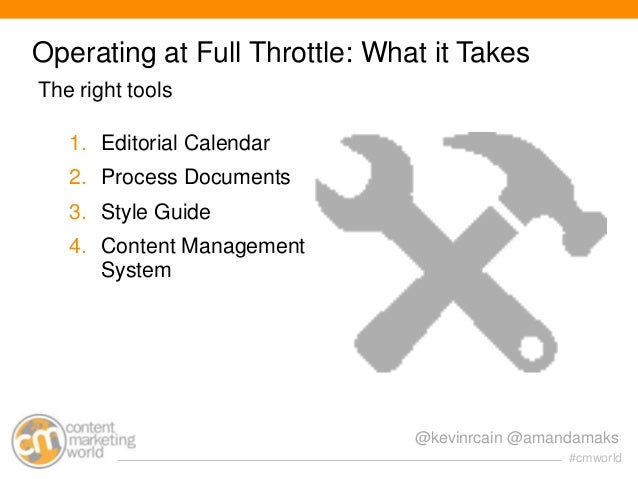 Operating at Full Throttle: What it Takes The right tools 1. Editorial Calendar 2. Process Documents 3. Style Guide 4. Con...