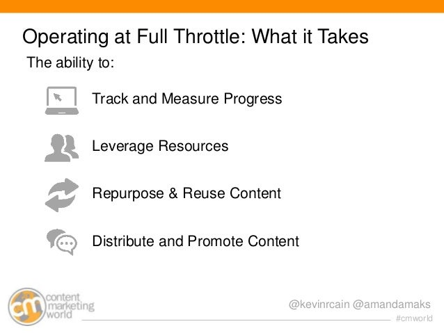 Operating at Full Throttle: What it Takes The ability to: Track and Measure Progress Leverage Resources Repurpose & Reuse ...