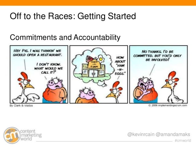 Off to the Races: Getting Started Commitments and Accountability  @kevinrcain @amandamaks #cmworld