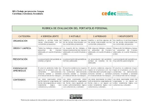 """REA Trabajo por proyectos.Lengua Castellana y Literatura. Secundaria """"Rúbrica de evaluación del portafolio personal"""", de C..."""