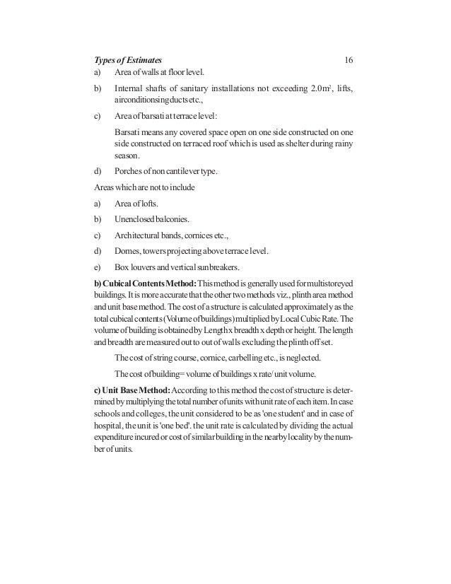 16 a) Areaofwallsatfloorlevel. b) Internal shafts of sanitary installations not exceeding 2.0m2 , lifts, airconditionsingd...