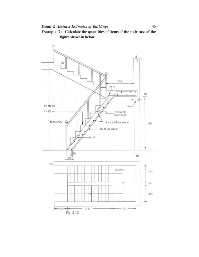 46 Example- 7: - Calculate the quantities of items of the stair case of the figure shown in below. Detail & Abstract Estim...