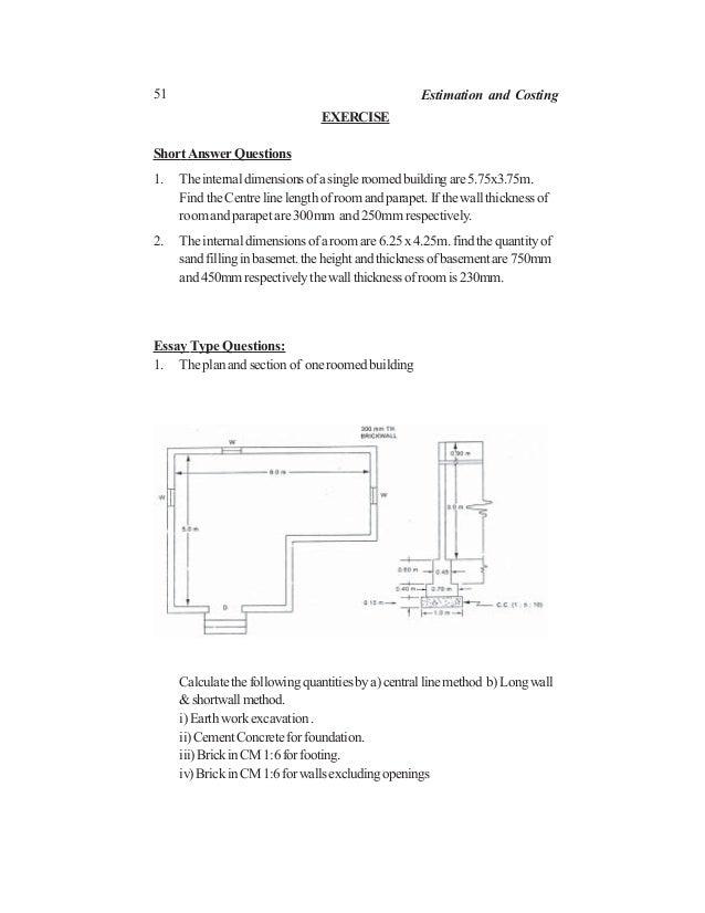 51 Estimation and Costing EXERCISE ShortAnswer Questions 1. Theinternaldimensionsofasingleroomedbuildingare5.75x3.75m. Fin...