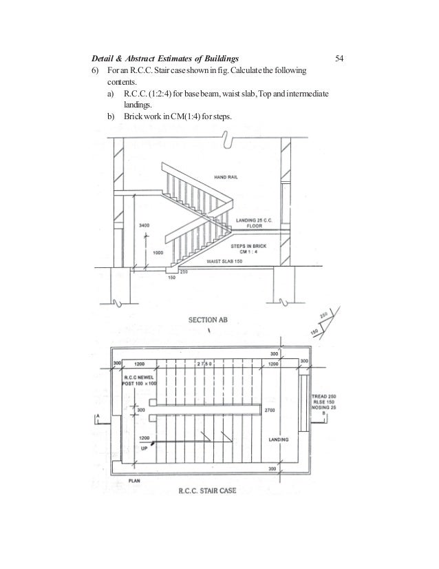 54 6) For an R.C.C. Stair case shown in fig. Calculate the following contents. a) R.C.C. (1:2:4) for base beam, waist slab...