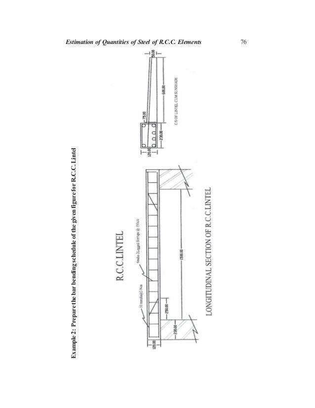 76 Example2:PreparethebarbendingscheduleofthegivenfigureforR.C.C.Lintel Estimation of Quantities of Steel of R.C.C. Elemen...