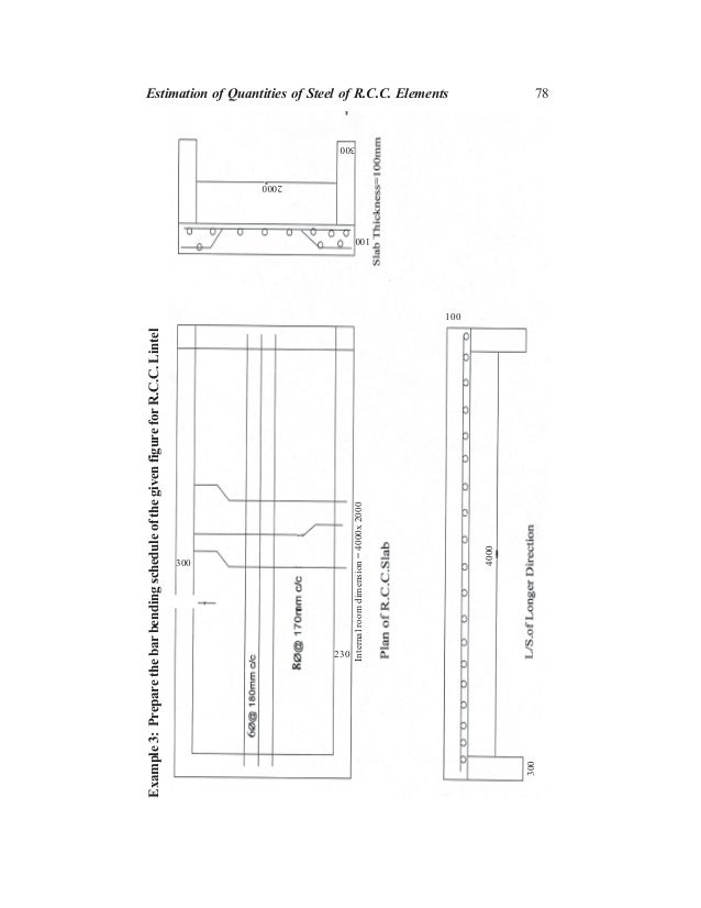 78 300 230 Internalroomdimension=4000x2000 100 Example3:PreparethebarbendingscheduleofthegivenfigureforR.C.C.Lintel 4000 2...