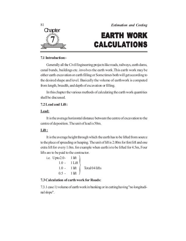 81 Estimation and Costing EARTH WORKEARTH WORKEARTH WORKEARTH WORKEARTH WORK CALCALCALCALCALCULACULACULACULACULATIONSTIONS...