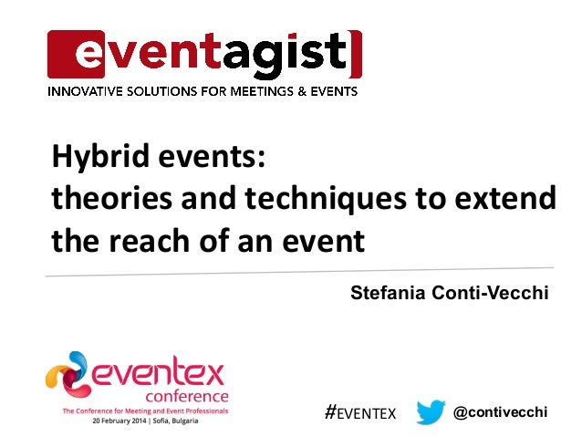 Hybrid  events:  theories  and  techniques  to  extend  the  reach  of  an  event  Stefania Conti-Vecchi  #EVENTEX  @conti...