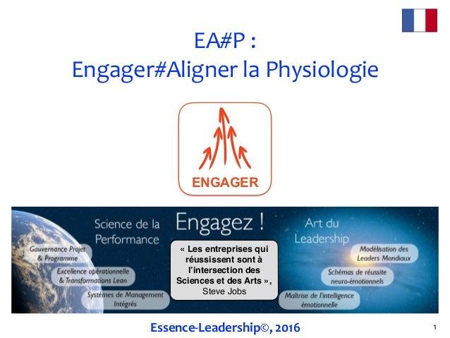 EA#P: Engager#AlignerlaPhysiologie 1Essence-Leadership©,2016 «Les entreprises qui réussissent sont à l'intersection ...