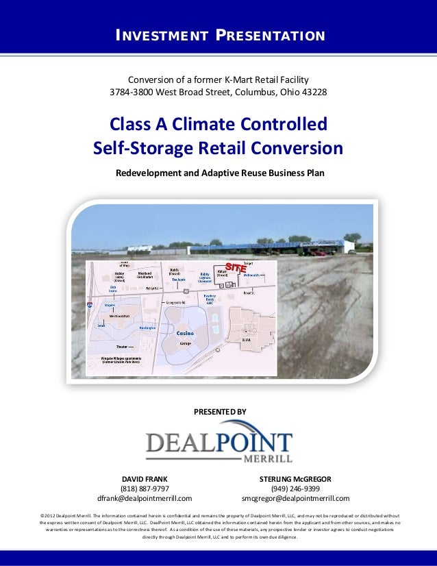 INVESTMENT PRESENTATIONConversion of a former K-Mart Retail Facility3784-3800 West Broad Street, Columbus, Ohio 43228Class...