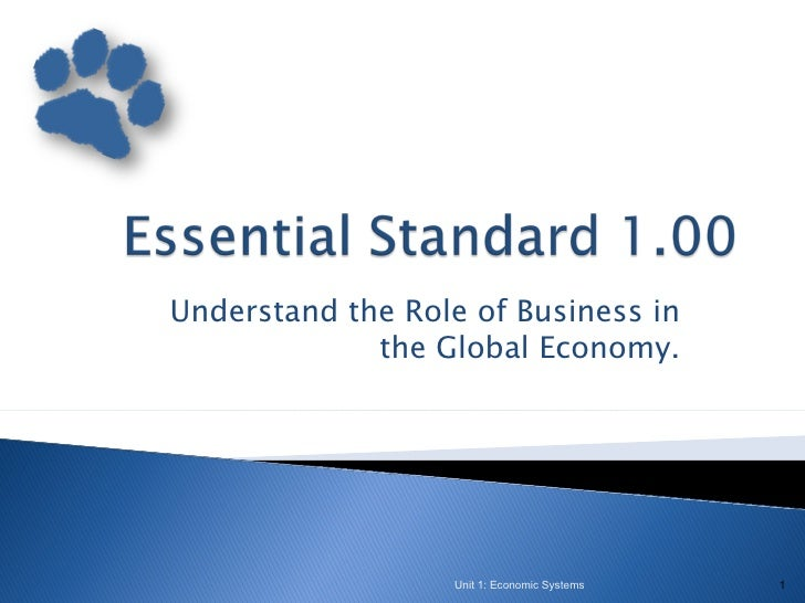 Understand the Role of Business in             the Global Economy.                  Unit 1: Economic Systems   1