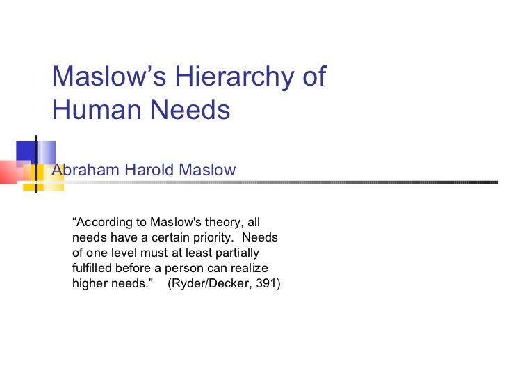 "Maslow's Hierarchy ofHuman NeedsAbraham Harold Maslow  ""According to Maslows theory, all  needs have a certain priority. N..."