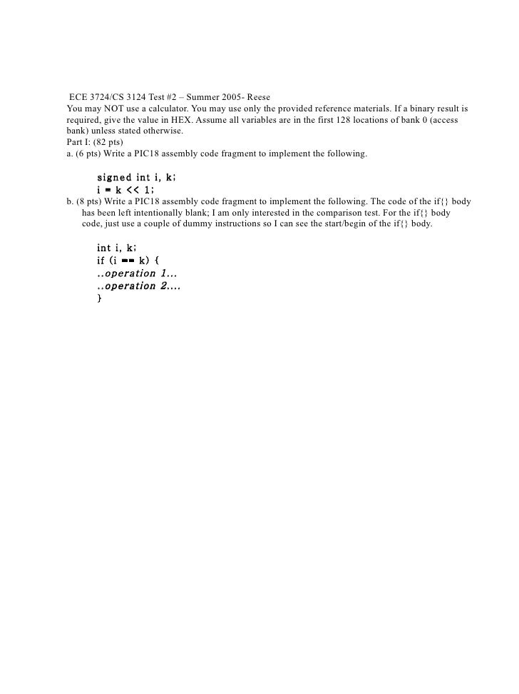 ECE 3724/CS 3124 Test #2 – Summer 2005- Reese You may NOT use a calculator. You may use only the provided reference materi...