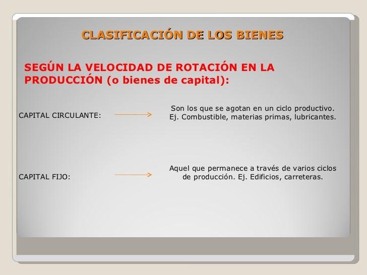 CLASIFICACIÓN DE LOS BIENES   SEGÚN LA VELOCIDAD DE ROTACIÓN EN LA  PRODUCCIÓN (o bienes de capital):                     ...