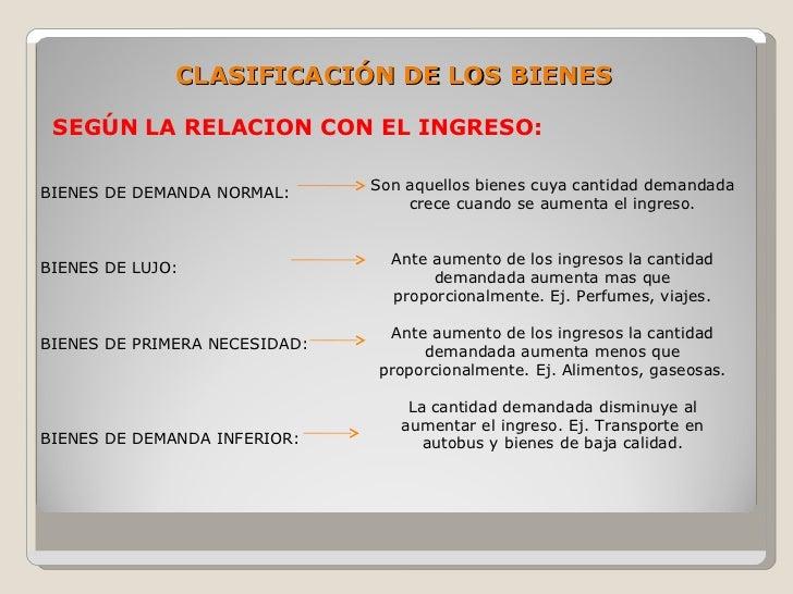 CLASIFICACIÓN DE LOS BIENES   SEGÚN LA RELACION CON EL INGRESO:  BIENES DE DEMANDA NORMAL:      Son aquellos bienes cuya c...