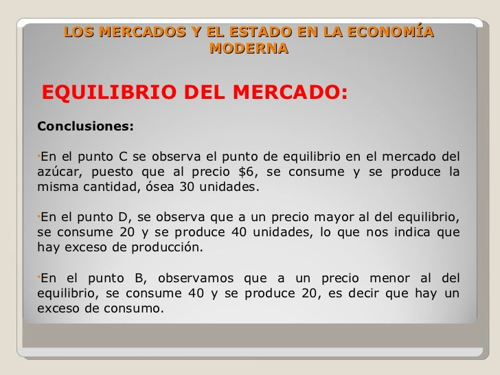 LOS MERCADOS Y EL ESTADO EN LA ECONOMÍA                      MODERNA   EQUILIBRIO DEL MERCADO: Conclusiones:  •Enel punto ...