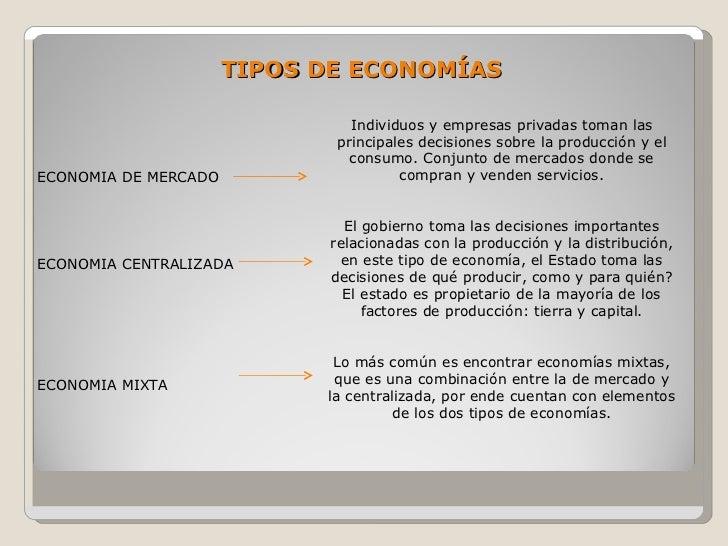 TIPOS DE ECONOMÍAS                                 Individuos y empresas privadas toman las                              p...