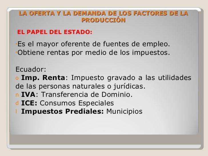 LA OFERTA Y LA DEMANDA DE LOS FACTORES DE LA                  PRODUCCIÓN  EL PAPEL DEL ESTADO:  •Esel mayor oferente de fu...