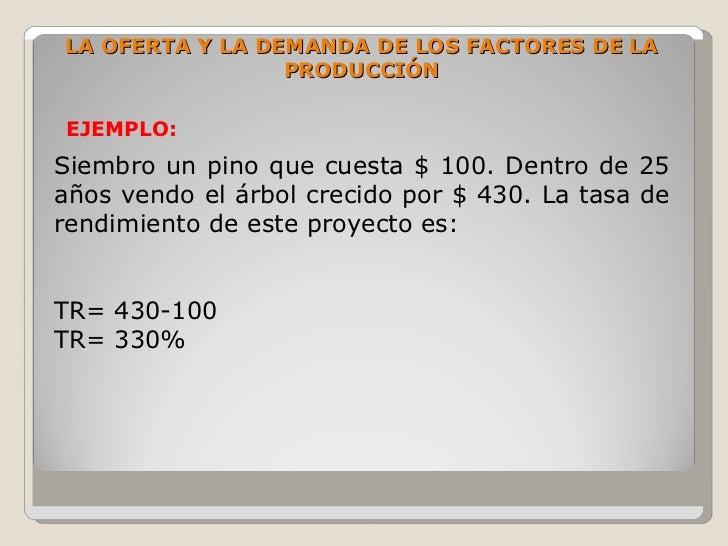 LA OFERTA Y LA DEMANDA DE LOS FACTORES DE LA                  PRODUCCIÓN  EJEMPLO: Siembro un pino que cuesta $ 100. Dentr...