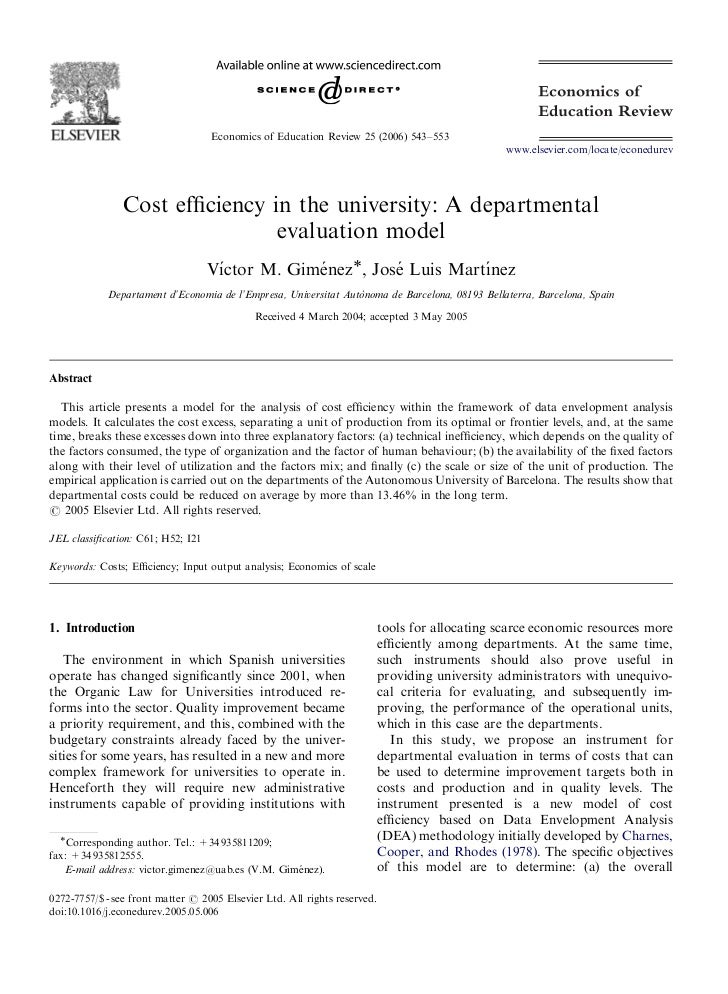 ARTICLE IN PRESS                                       Economics of Education Review 25 (2006) 543–553                    ...