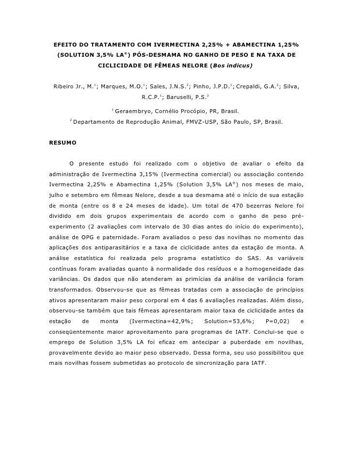EFEITO DO TRATAMENTO COM IVERMECTINA 2,25% + ABAMECTINA 1,25%   (SOLUTION 3,5% LA®) PÓS-DESMAMA NO GANHO DE PESO E NA TAXA...