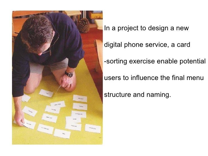In a project to design a new digital phone service, a card -sorting exercise enable potential users to influence the final...