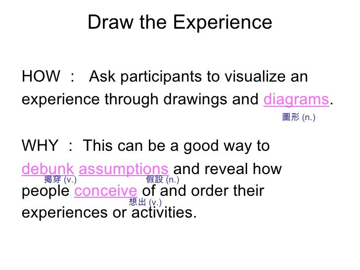 Draw the Experience <ul><li>HOW :  Ask participants to visualize an </li></ul><ul><li>experience through drawings and   di...