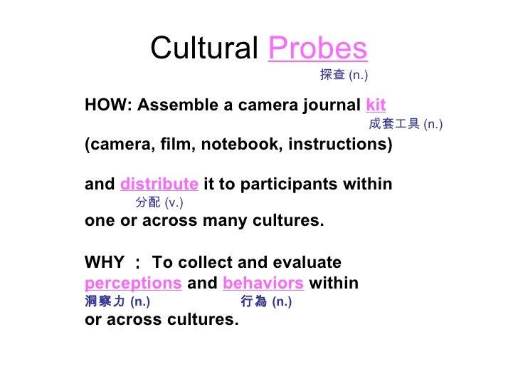 Cultural   Probes <ul><li>HOW: Assemble a camera journal   kit </li></ul><ul><li>(camera, film, notebook, instructions) </...