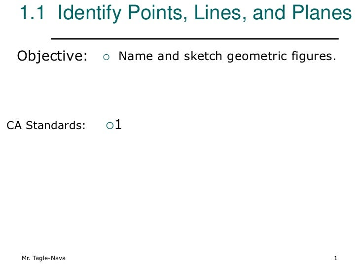 1.1 Identify Points, Lines, and Planes Objective:           Name and sketch geometric figures.CA Standards:      1  Mr. ...