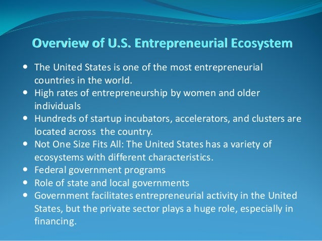 Overview of U.S. Entrepreneurial Ecosystem  The United States is one of the most entrepreneurial countries in the world. ...