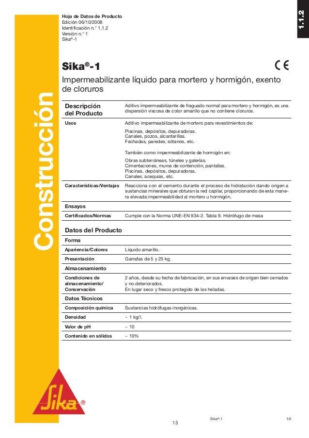 1.1.2               Hoja de Datos de Producto               Edición 06/10/2008               Identificación n.° 1.1.2     ...