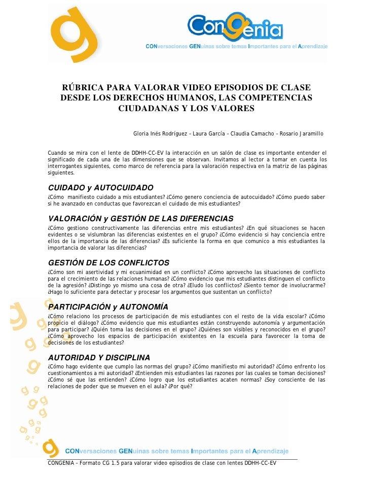 RÚBRICA PARA VALORAR VIDEO EPISODIOS DE CLASE     DESDE LOS DERECHOS HUMANOS, LAS COMPETENCIAS                CIUDADANAS Y...