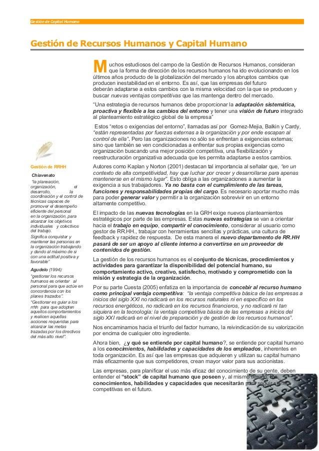 Gestión de Capital Humano Gestión de Recursos Humanos y Capital Humano uchos estudiosos del campo de la Gestión de Recurso...