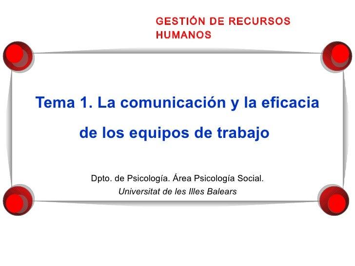 Tema 1. La comunicación y la eficacia de los equipos de trabajo     Dpto. de Psicología. Área Psicología Social. Universit...