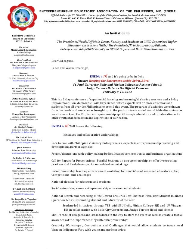 11 invitation letter page 1 oct 26 entrepreneurship educators association of the philippines inc stopboris Image collections
