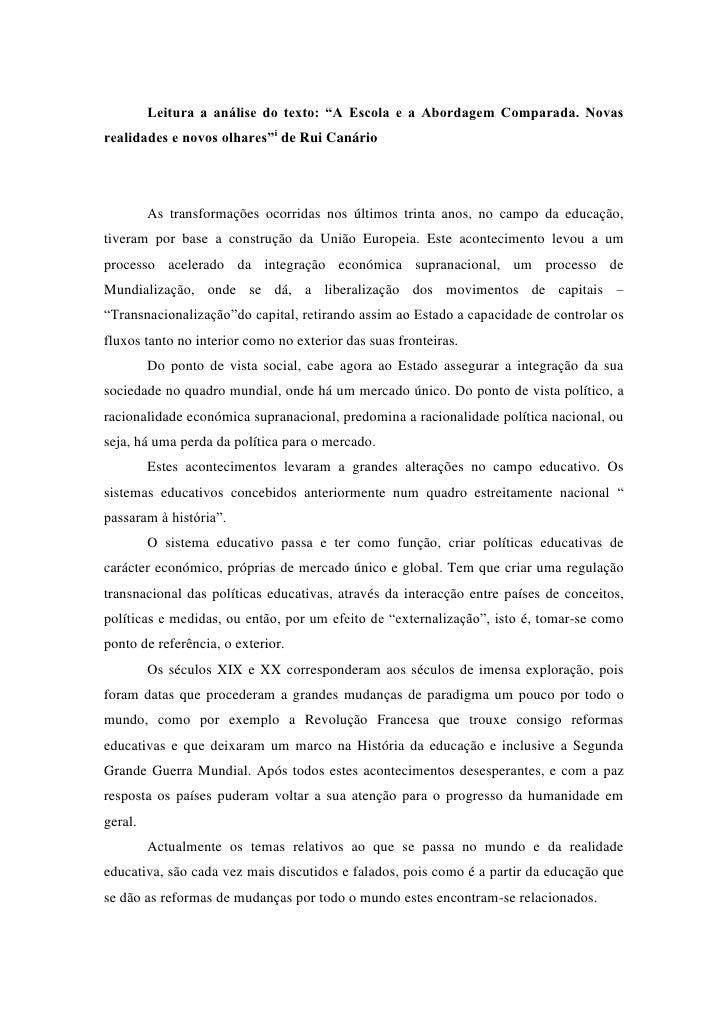 """Leitura a análise do texto: """"A Escola e a Abordagem Comparada. Novas realidades e novos olhares""""i de Rui Canário          ..."""